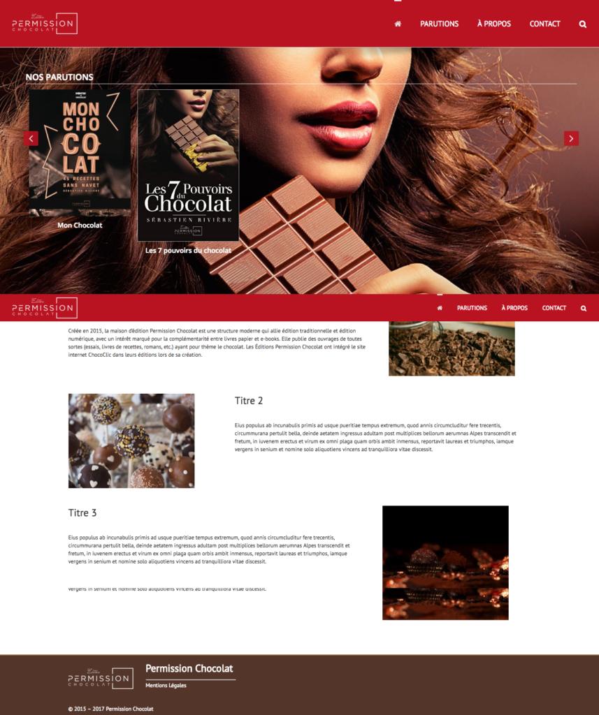Site permissionchocolat.com réalisée par l'agence Little Beez Communication