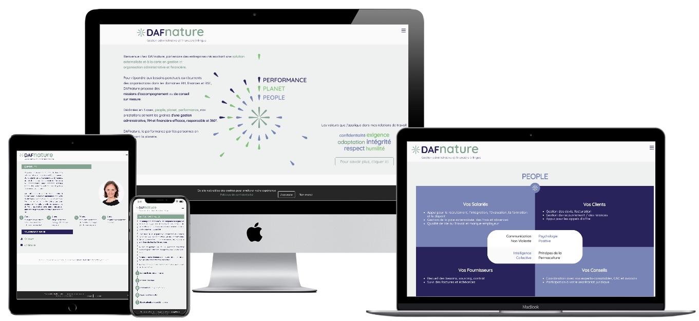 Création du site web de DAFnature, Gestion administrative et financière trilingue
